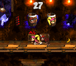 Diddy Kong and Dixie Kong in the first Bonus Level in Kannon's Klaim in the SNES version