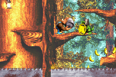 Kiddy Kong holding a Steel Barrel at the Koin of Ripsaw Rage in the Game Boy Advance version of Donkey Kong Country 3