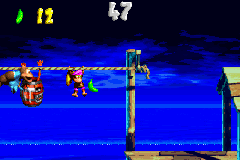Dixie Kong and Kiddy Kong in the first Bonus Level of Stormy Seas in the Game Boy Advance remake of Donkey Kong Country 3