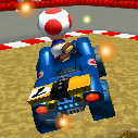 Toad performing a trick in Mario Kart 7. Compressed.