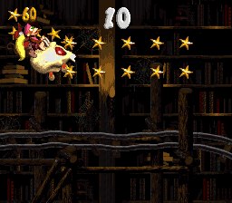 The Kongs in the second Bonus Area of Haunted Hall in Donkey Kong Country 2: Diddy's Kong Quest.