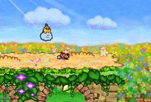 Mario finding a Star Piece under a bridge in the northeastern area in Flower Fields in Paper Mario