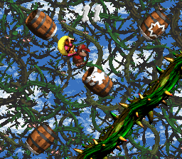 Diddy Kong and Dixie Kong in the first Bonus Level in Bramble Blast in the SNES version
