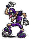 Sticker of Waluigi from Super Smash Bros. Brawl.