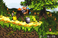 Kiddy Kong about to throw a Steel Barrel behind Koin in the Game Boy Advance remake of Donkey Kong Country 3