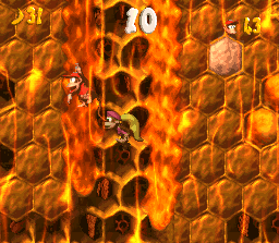 Diddy Kong and Dixie Kong in the second Bonus Level in Hornet Hole in the SNES version