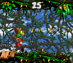 Diddy Kong, Dixie Kong and Squawks in the second Bonus Level in Bramble Blast in the SNES version