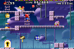 A portion of Level 5-5+ from the game Mario vs. Donkey Kong.