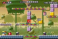 Part 1 of Level 5-3 from the game Mario vs. Donkey Kong.