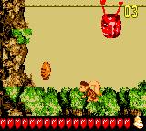 Dixie Kong reaches the end of the second Bonus Level of Vertigo Verge in Donkey Kong GB: Dinky Kong & Dixie Kong
