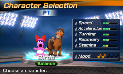 Birdo's stats in the horse racing portion of Mario Sports Superstars