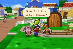 Mario getting a Star Piece from Minh T. in Paper Mario
