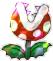 A Shiny Paper Fire Piranha Plant's battle sprite from Mario & Luigi: Paper Jam.