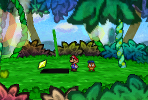 Mario finding a Star Piece under the panel at the grassland near Goomba Village in Paper Mario