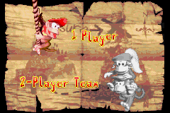 The player select screen from Donkey Kong Country 2 on Game Boy Advance