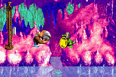 Kiddy Kong holding a Steel Barrel toward Koin at the end of Ripcurl Reef in the Game Boy Advance version of Donkey Kong Country 3