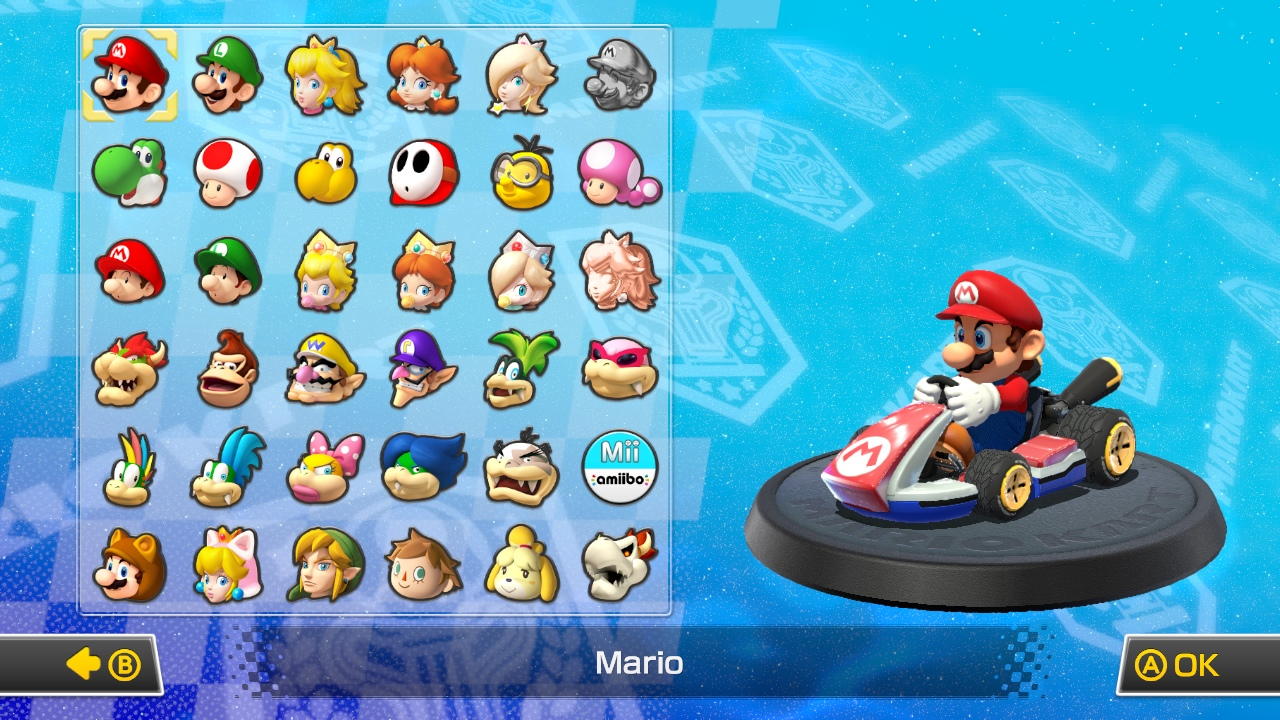 The character select screen, with the downloadable characters included.