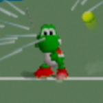 Yoshi charging a forehand shot in Mario Tennis.