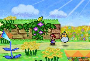 Mario finding a Star Piece in the northwestern area in Flower Fields in Paper Mario