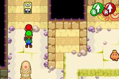 Hidden? Block location in Oho Oasis's Fire Temple, in Mario & Luigi: Superstar Saga.