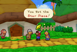 Mario getting a Star Piece from Kolorado for giving him the Artifact in Dry Dry Desert.