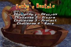 The Funky's Rentals menu from the Extras menu in the Game Boy Advance remake of Donkey Kong Country 3: Dixie Kong's Double Trouble!