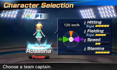 Rosalina's stats in the baseball portion of Mario Sports Superstars