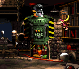 Dixie Kong in the boss fight with KAOS at Kastle Kaos in Donkey Kong Country 3: Dixie Kong's Double Trouble!