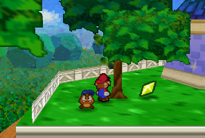 Mario finding a Star Piece in a tree near Merlon's house in Toad Town in Paper Mario