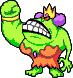 Sprite of Queen Bean with her right arm raised, from Mario & Luigi: Superstar Saga.
