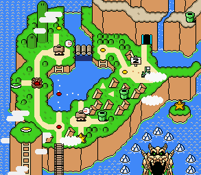 The world Donut Plains as it appears in the game Super Mario World.