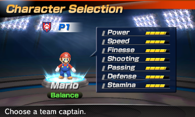 Mario's stats in the soccer portion of Mario Sports Superstars
