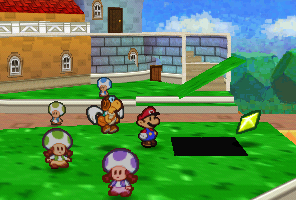 Mario finding a Star Piece under a hidden panel near the three sisters in Toad Town in Paper Mario