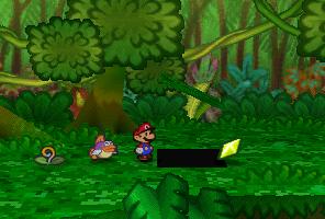 Mario finding a Star Piece under a hidden panel near the big tree in Jade Jungle in Paper Mario