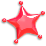A red Mini Paint Star in Paper Mario: Color Splash.