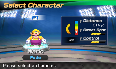 Wario's stats in the golf portion of Mario Sports Superstars