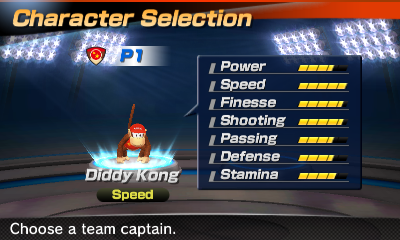 Diddy Kong's stats in the soccer portion of Mario Sports Superstars