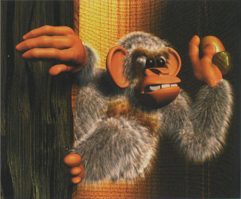 Dixie Kong's Double Trouble! official artwork: A mischievous Minkey.