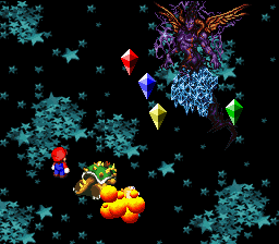 The Earth Crystal using the attack Blast on Toadstool during the battle with Culex.