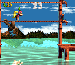 Dixie Kong and Kiddy Kong in the first Bonus Level of Kreeping Klasps