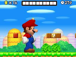 Mario under the effect of a Mega Mushroom in New Super Mario Bros.