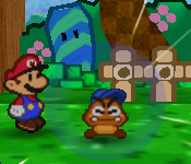 Goombario charging in a Paper Mario battle.