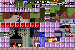 Level 1-1+ of Mario vs. Donkey Kong.