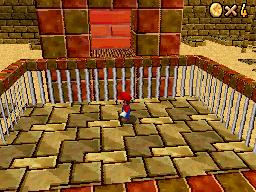 Mario inside the pyramid at Shifting Sand Land