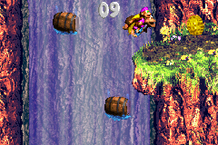The Kongs in the second Bonus Level of Barrel Drop Bounce in the Game Boy Advance remake