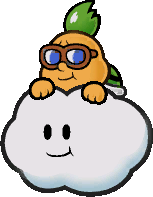 An early sprite of Lakilester from Paper Mario: The Thousand-Year Door.