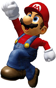 Appearing his trademark blue overalls, red hat and undershirt.