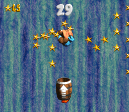 Kiddy Kong in the second Bonus Level of Rocket Barrel Ride