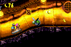 The location of the letter O in Surf's Up in the European and Japanese versions of Donkey Kong Country 3 on Game Boy Advance. In the North American version, a banana appears near the Buzz
