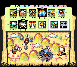 The map of World 1 from the game Super Mario World 2: Yoshi's Island.
